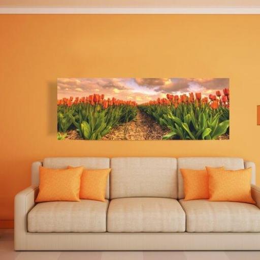Cuadro en lienzo para decorar cabecero cama tulipanes [1]