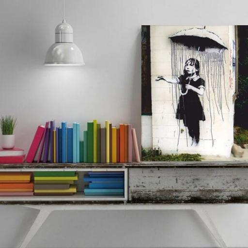 Cuadro en lienzo Banksy niña paraguas umbrella girl [1]