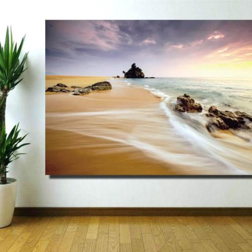 Cuadro en lienzo playa atardecer paisaje marino  [1]