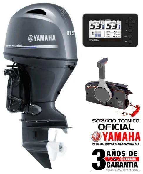 """Motor YAMAHA 115 HP 4T, Inyección Electrónica, Arranque Eléctrico, Power Trim, Doble Instrumental Digital - PATA LARGA """"0KM"""""""