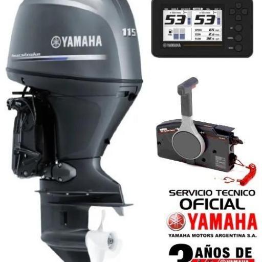 """Motor YAMAHA 115 HP 4T, Inyección Electrónica, Arranque Eléctrico, Power Trim, Doble Instrumental Digital - PATA LARGA """"0KM""""  [0]"""