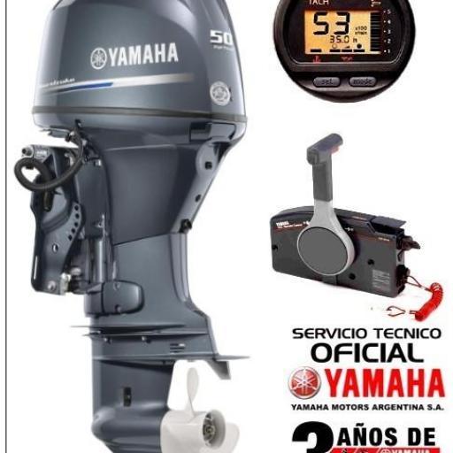 """Motor YAMAHA 50 HP 4T, Inyección Electrónica, Arranque Eléctrico, Power Trim, Intrumental Digital - PATA LARGA """"0KM""""  [0]"""