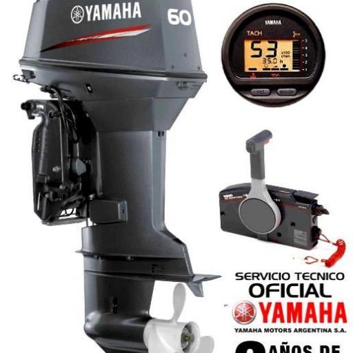 """Motor YAMAHA 60 HP 2T Arranque Eléctrico, Power Trim, Inyección de Aceite, Instrumental Digital, Mandos a Distancia - PATA LARGA """"0KM"""" [0]"""