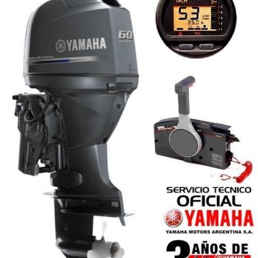"""Motor YAMAHA 60 HP 4T, Inyección Electrónica, Arranque Eléctrico, Power Trim, Intrumental Digital - PATA LARGA """"0KM""""  [0]"""