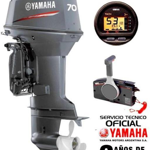 """Motor YAMAHA 70 HP 2T Arranque Eléctrico, Power Trim, Inyección de Aceite, Instrumental Digital, Mandos a Distancia - PATA LARGA """"0KM"""" [0]"""