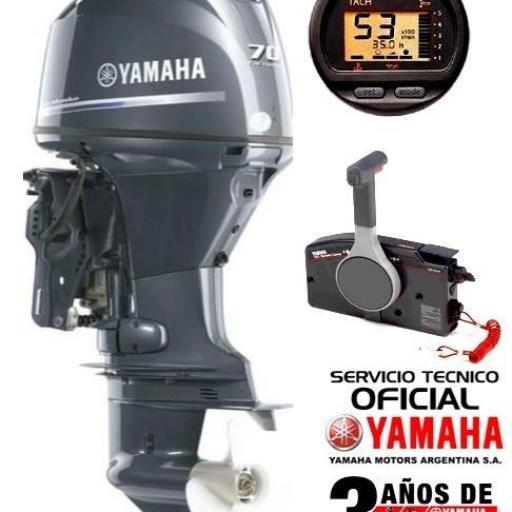 """Motor YAMAHA 70 HP 4T, 16 válvulas, Inyección Electrónica, Arranque Eléctrico, Power Trim, Intrumental Digital Multifunción - PATA LARGA """"0KM"""" [0]"""