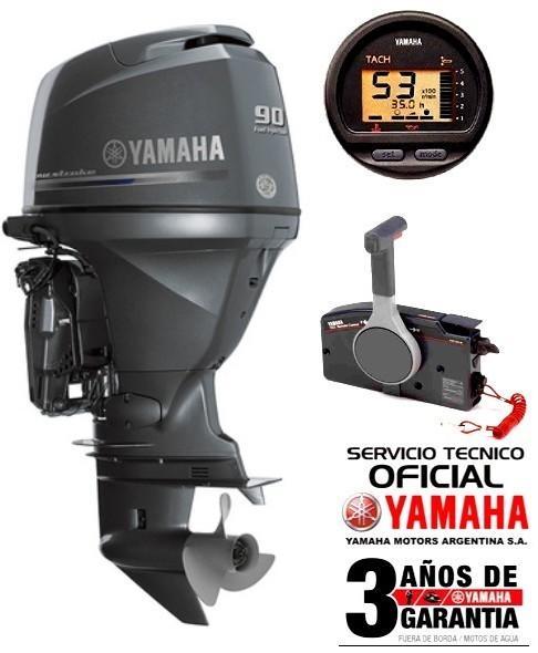 """Motor YAMAHA 90 HP 4T, Inyección Electrónica, Arranque Eléctrico, Power Trim, Intrumental Digital - PATA LARGA """"0KM"""""""