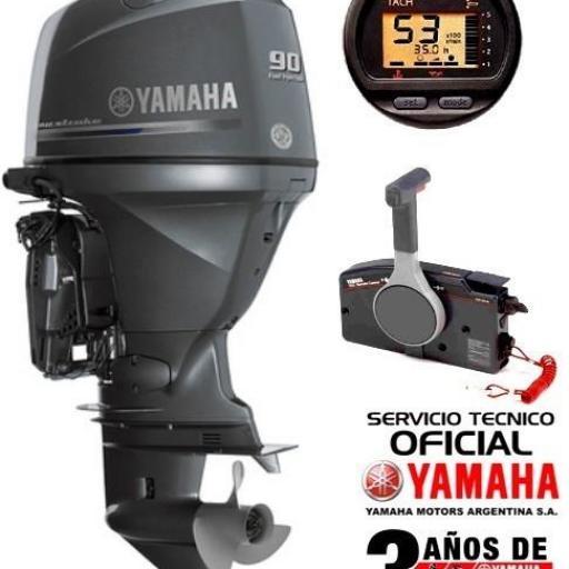 """Motor YAMAHA 90 HP 4T, Inyección Electrónica, Arranque Eléctrico, Power Trim, Intrumental Digital - PATA LARGA """"0KM"""" [0]"""