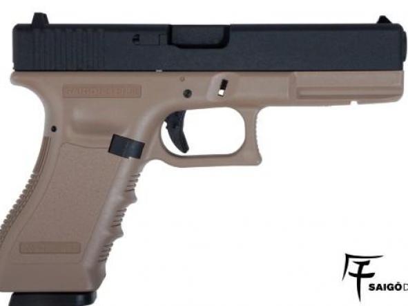 Pistola Airsoft G 17 Saigo Blowback Metal Slide 6mm TAN