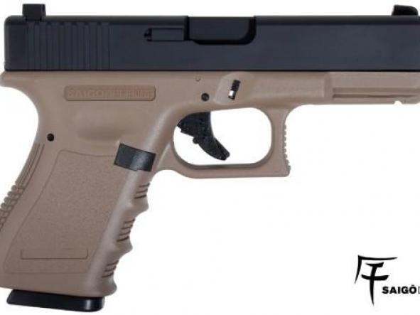 Pistola Airsoft G 23 Saigo Blowback 6mm tan