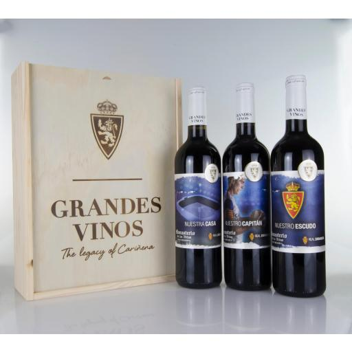Caja de madera estándar vino Real Zaragoza (Gran Reserva 2013)