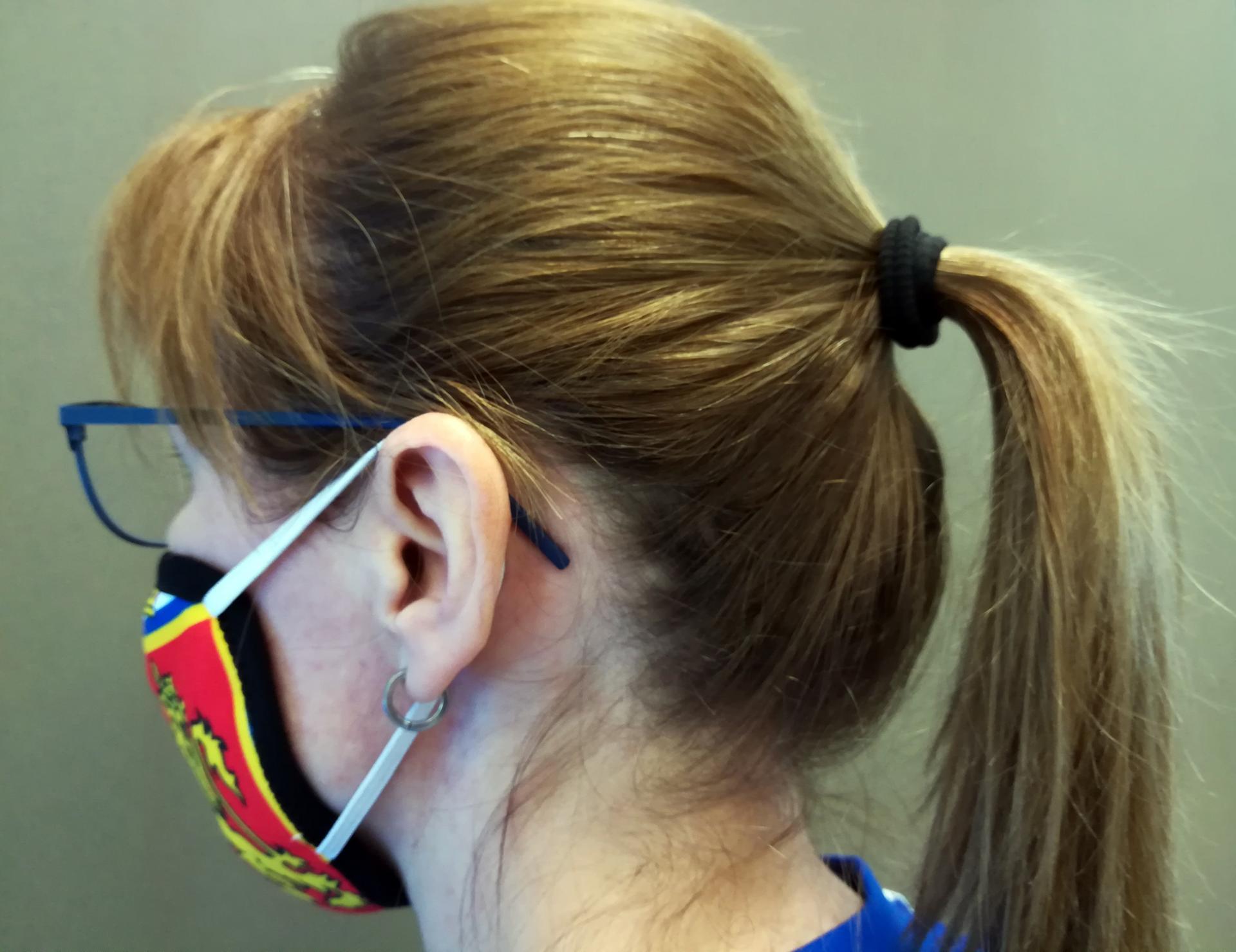 Mascarilla a las orejas escudo ergonómica y reutilizable