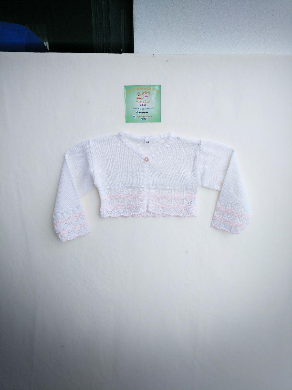 Chaqueta hilo blanca y rosa