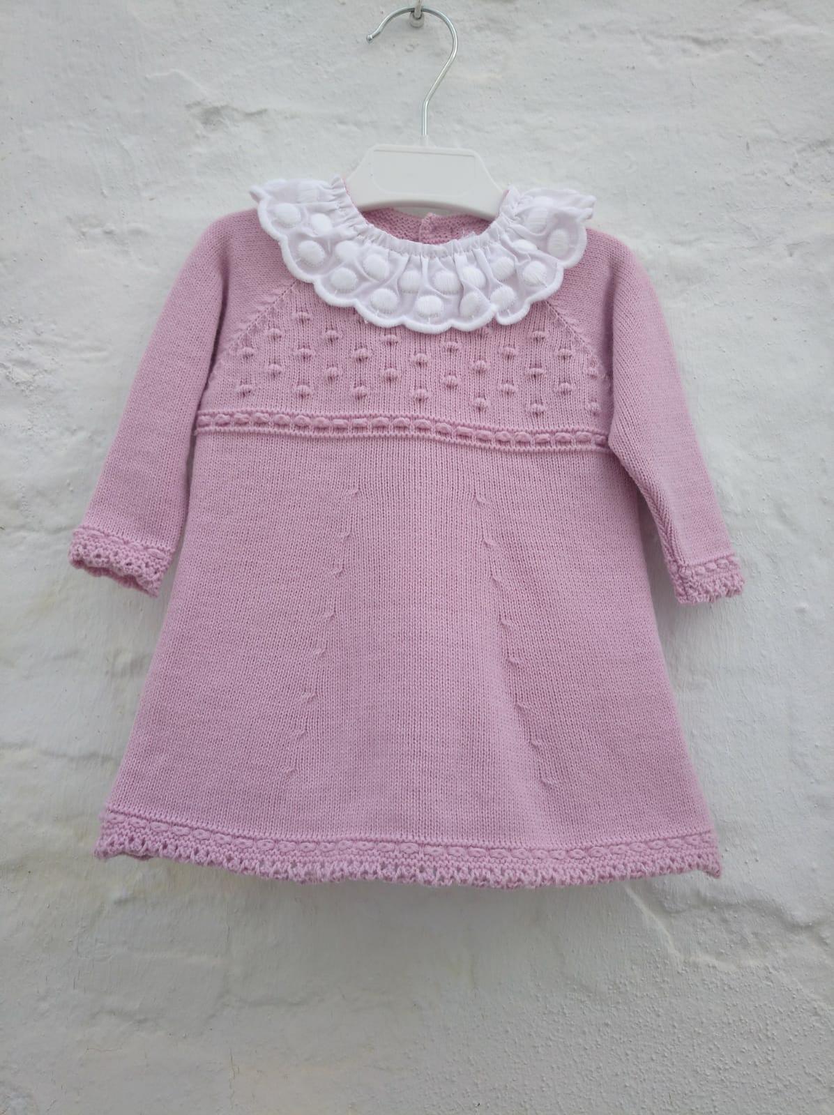 Vestido de lana rosa empolvado