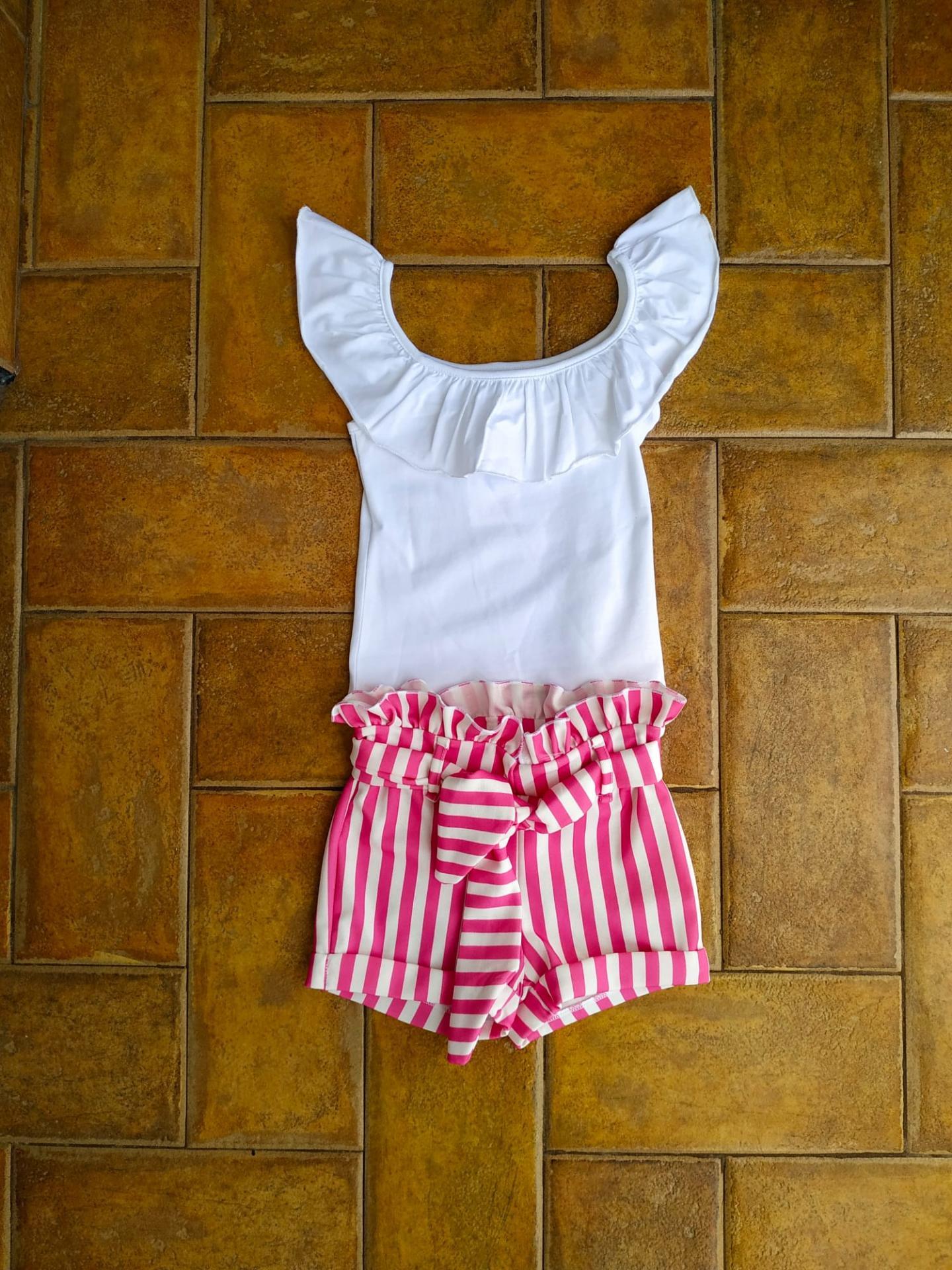 Conjunto pantalón corto rayas