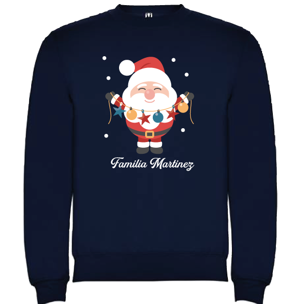 Sudadera Azul Marino Navidad Papa Noel 3