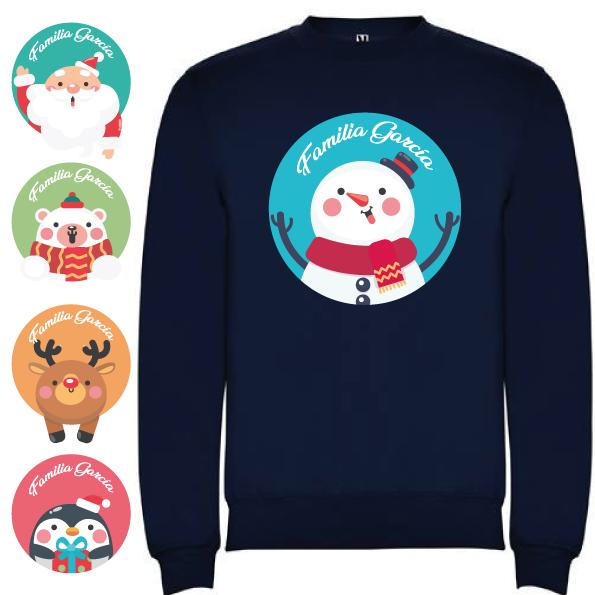 Sudadera Azul Marino Navidad Personajes