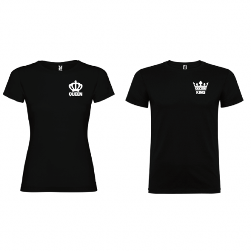 2 Camisetas original King Queen Negro