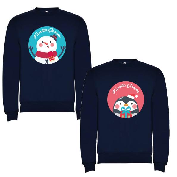 2 Sudaderas Azul Marino Navidad Personajes