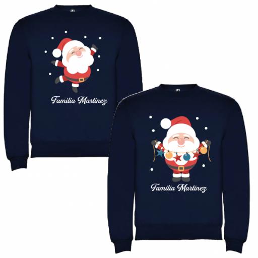 2 Sudaderas Azul Marino Navidad Papa Noel