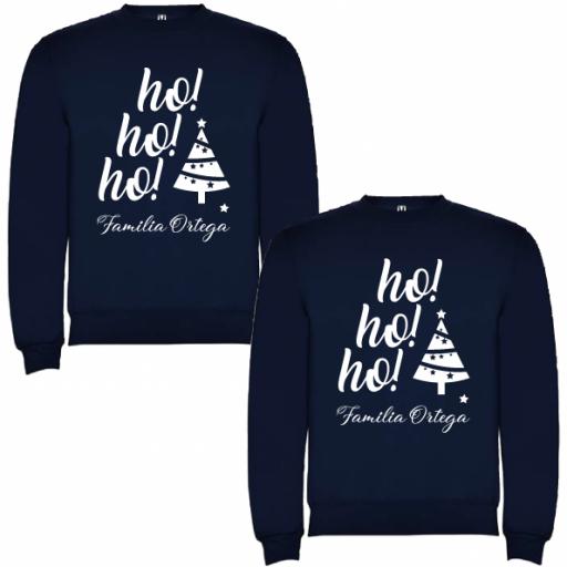 2 Sudaderas Azul Marino Navidad Ho Ho Ho