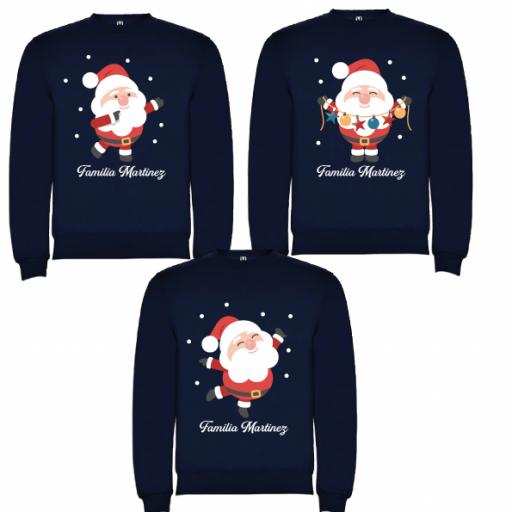 3 Sudaderas Azul Marino Navidad Papa Noel