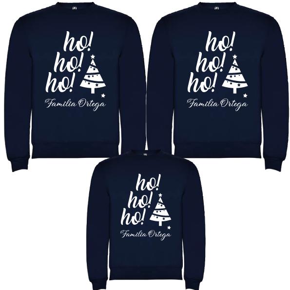 3 Sudaderas Azul Marino Navidad Ho Ho Ho