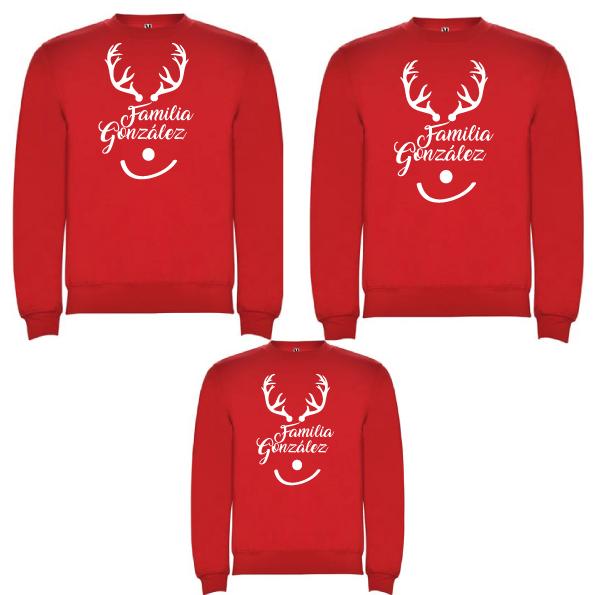 3 Sudaderas Rojas Navidad Reno