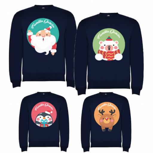 4 Sudaderas Azul Marino Navidad Personajes