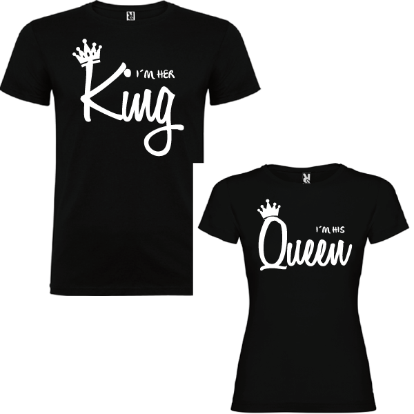 2 Camisetas I´m her KNG I´m his Queen
