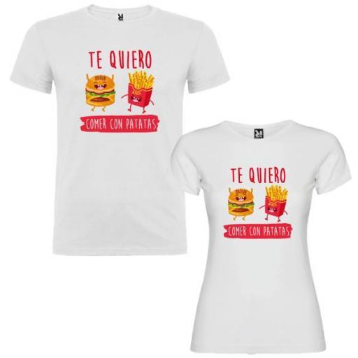 2 Camisetas Te Quiero Comer con Patatas Pareja [1]