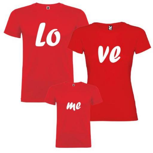 3 camisetas rojas Familia Lo, Ve, Me