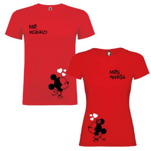 2 Camisetas Mickey and Minnie Mouse Pareja