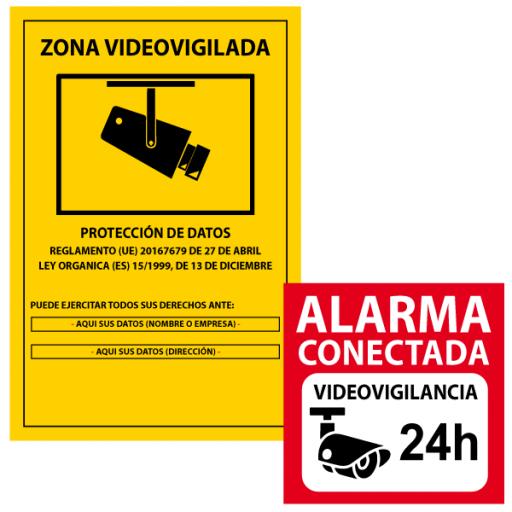Cartel PVC cámaras de seguridad más vinilo alarma conectada (vinilo para pegar por fuera)