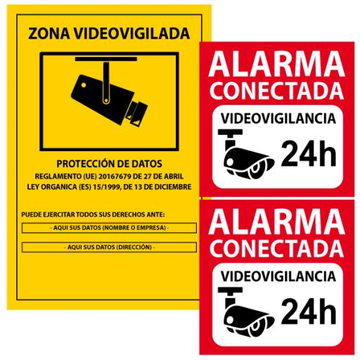 1 Cartel PVC cámaras de seguridad más 2 vinilos alarma conectada (vinilos para pegar por fuera)