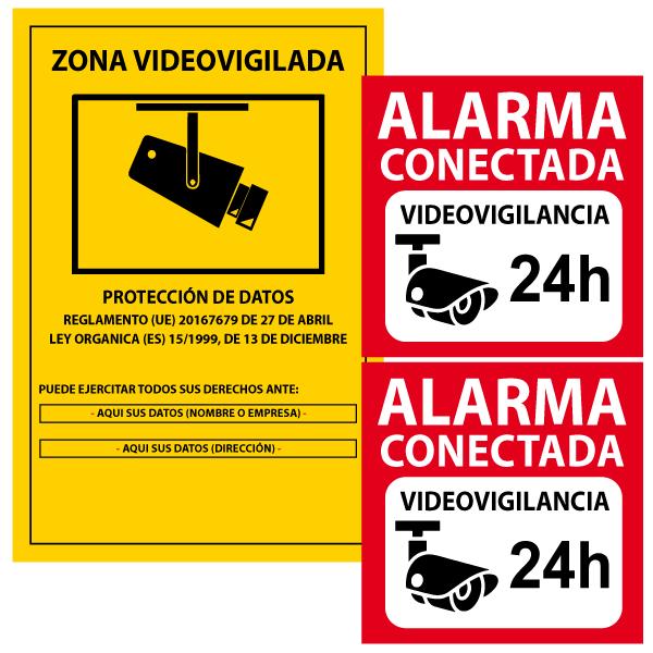 1 Cartel PVC cámaras de seguridad más 2 vinilos alarma conectada (vinilos para pegar por dentro)