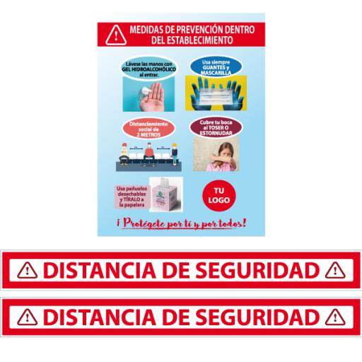 1 Cartel medidas de prevención con 2 vinilos de distancia de seguridad