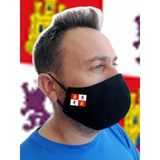 Mascarilla negra con bandera personalizada