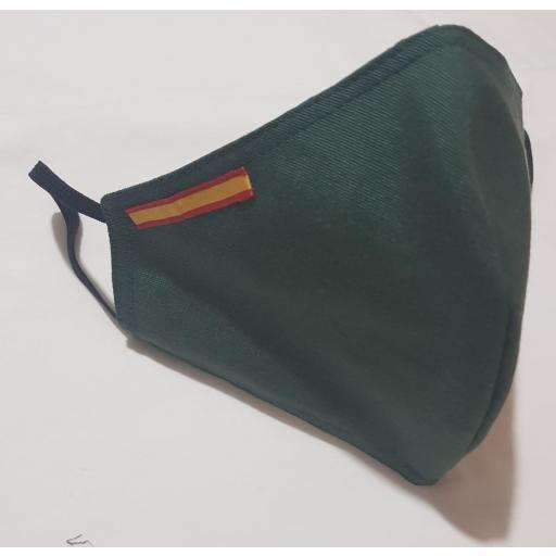 Mascarilla verde con bandera de España