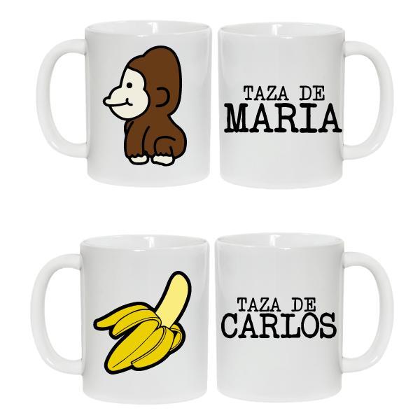 2 Tazas Plátano y Mono
