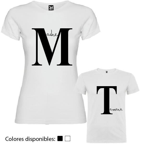 2 Camisetas Madre e Hij@ Iniciales Personalizadas