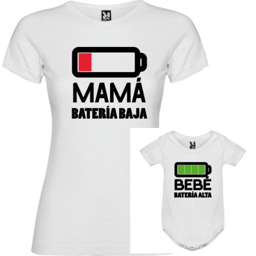 1 camiseta blanca con body Batería [0]
