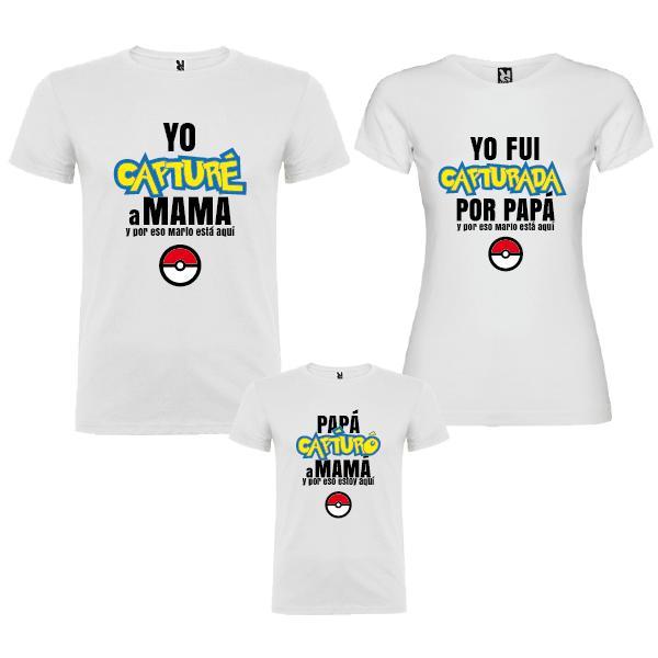 3 Camisetas Familia Pokemon