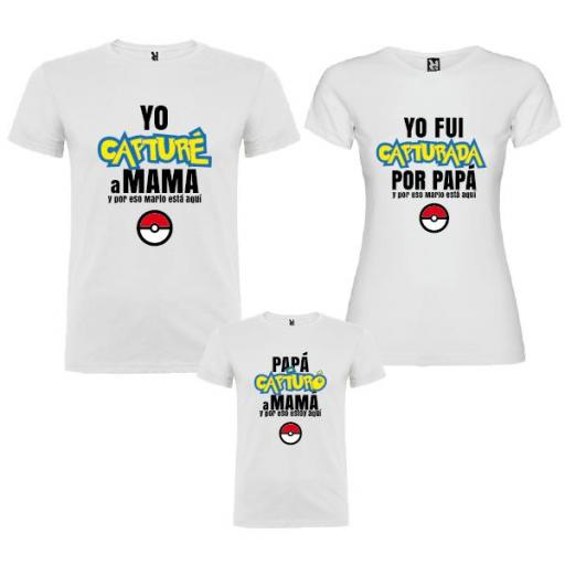 3 Camisetas Familia Pokemon