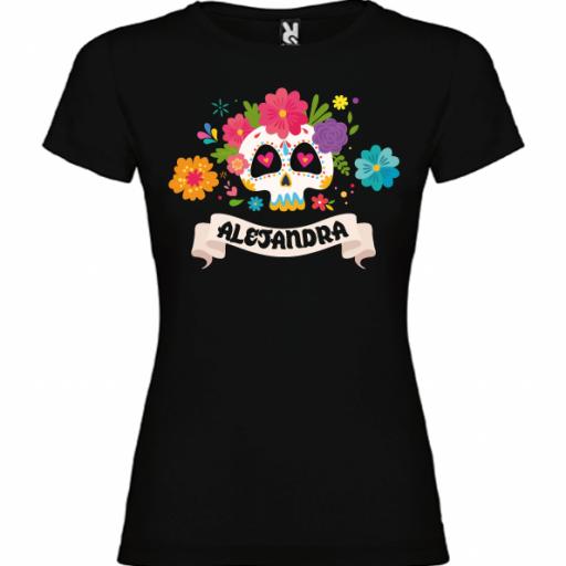 Camiseta Negra Calavera Flores II (Mujer y niña)