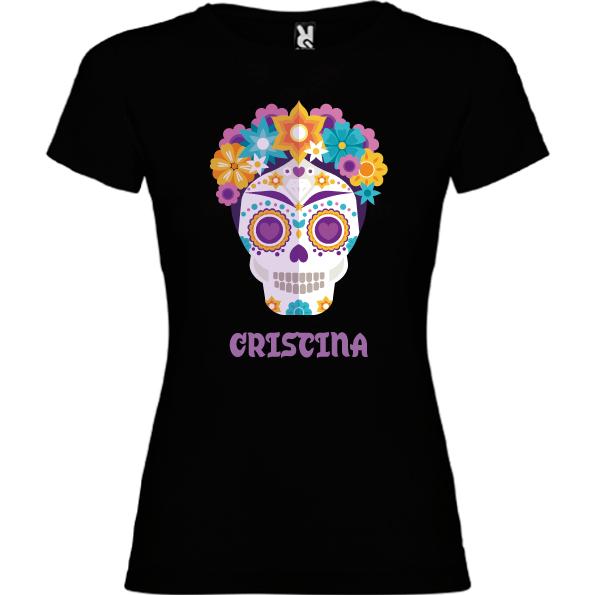 Camiseta Negra Calavera Flores III (Mujer y niña)