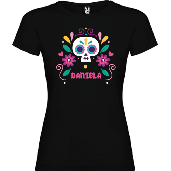 Camiseta Negra Calavera Flores I (Mujer y niña)