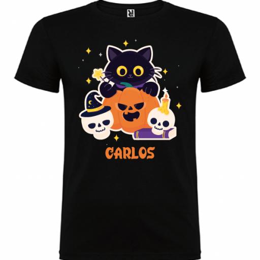 Camiseta Negra Calabaza (Hombre y niño)