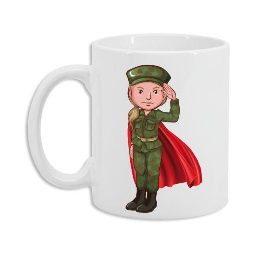 Taza Militar Superhéroe Mujer