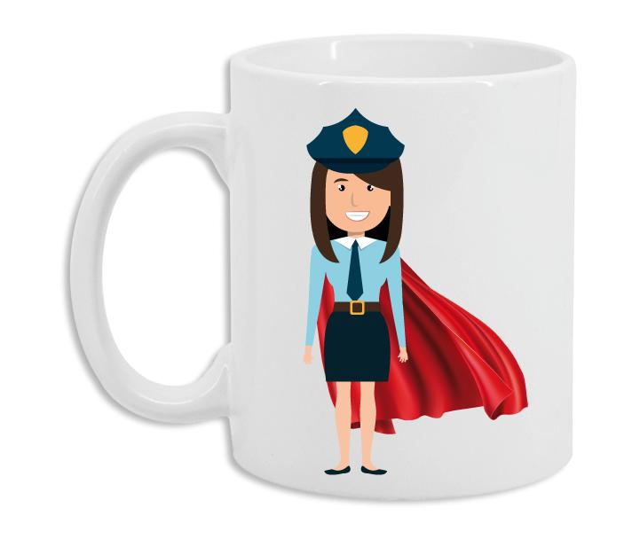 Taza Policía Superhéroe Mujer